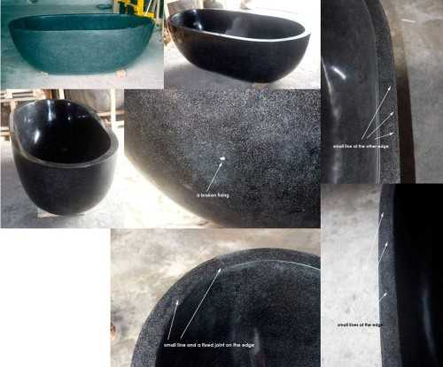 Foto produk Products For Floors And Walls Installation Black Resin Terrazzo Bathtub di Arsitag