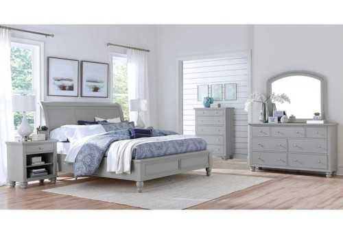 Foto produk  Cambridge King Bed Grey With 2 Nightstand Dresser Mirror di Arsitag