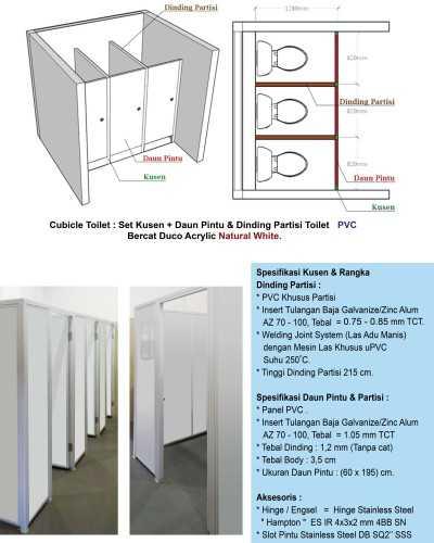 Foto produk  Cubicle Toilet (Set Kusen, Daun Pintu & Dinding Partisi) Pvc Atau Upvc di Arsitag