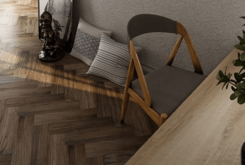 Foto produk  Engineered Floor-Gmelina Stained Coffee Brushing Herringbone di Arsitag
