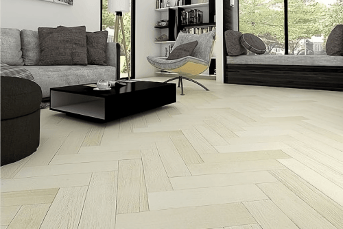 Foto produk Outdoor Engineered Floor-Gmelina Stained White Herringbone di Arsitag