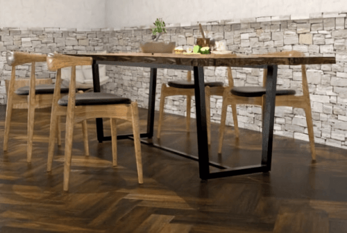Engineered Floor-Gmelina Distressed Stain Teak Doreng Herringbone Furniture