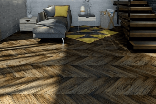 Foto produk Outdoor Engineered Floor-Gmelina Stained Coffee Chevron di Arsitag