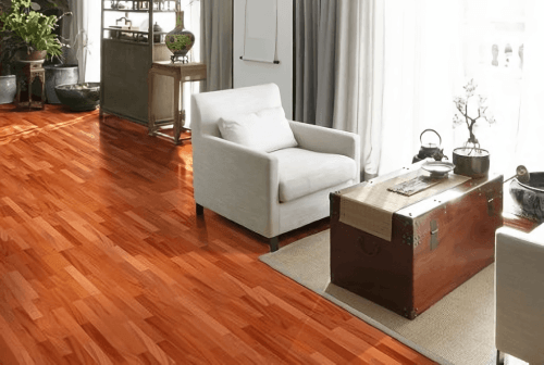 Engineered Floor-Mahogany Stained Red 3 Strip Furniture